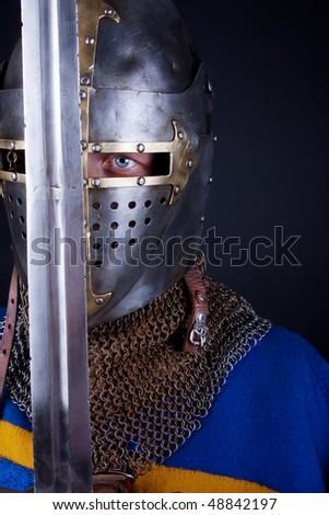 sword and knight. studio shot - stock photo