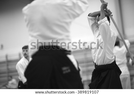 Sword attack - stock photo