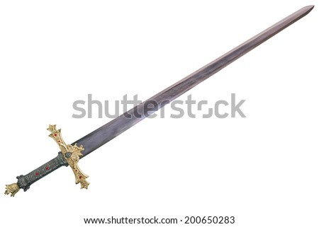 Sword displayed by diagonal, isolated on white background. - stock photo