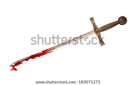 sword in blood isolated on white background - stock photo