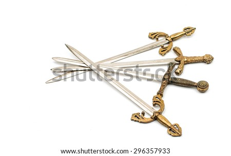 Swords on a white background - stock photo