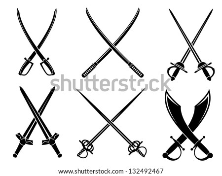 Swords, sabres and longswords set for heraldry design. Vector version also available in gallery - stock photo