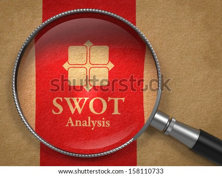 SWOT Analysis Concept: Magnifying Glass with Icon and Words SWOT Analysis on Old Paper with Red Vertical Line Background. - stock photo