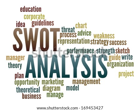 Swot Analysis  in word collage - stock photo