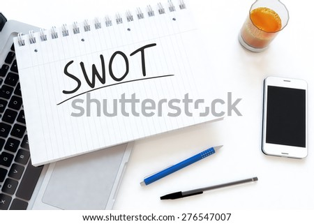 SWOT for strengths, weaknesses, opportunities and threats - handwritten text in a notebook on a desk - 3d render illustration. - stock photo