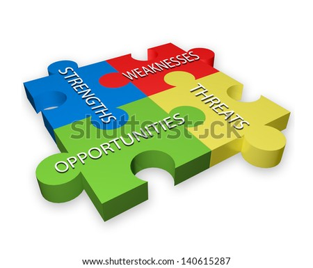SWOT illustration of colorful puzzle pieces - stock photo