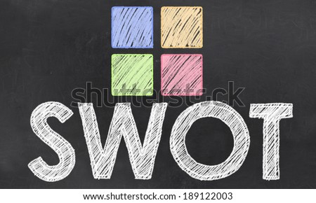 SWOT Word with Chalk and Colored Squares on Blackboard - stock photo