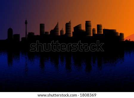 sydney at dawn - reflections in water and sun reflections on buildings - stock photo