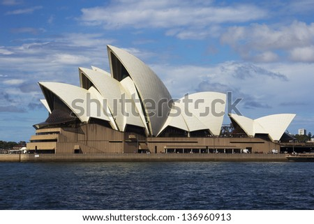 SYDNEY, AUSTRALIA - APRIL 7: Sydney Opera House on 7th April 2013. A $110 million dollar project is underway to construct an underground loading facility. - stock photo