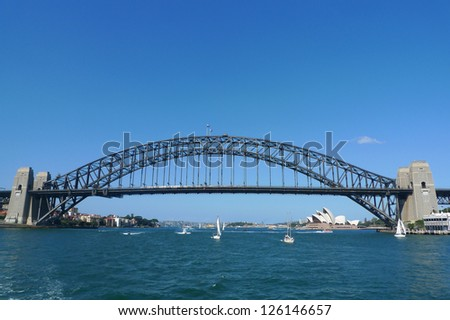 SYDNEY, AUSTRALIA - APRIL 3: The famous Harbour bridge and Opera House in Sydney on April 3, 2011 in Sydney, Australia.  Until 1967 the Harbour Bridge was Sydney's tallest structure. - stock photo