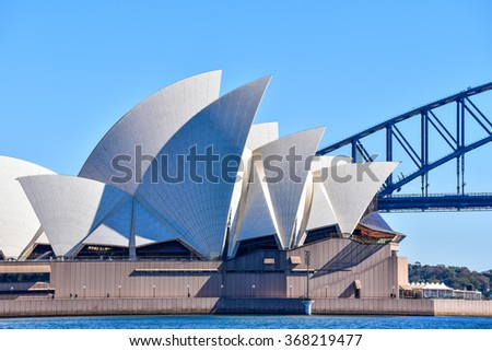 Sydney, Australia - AUGUST 13, 2015: The Sydney Opera House With Sydney Harbour Bridge in Background - stock photo