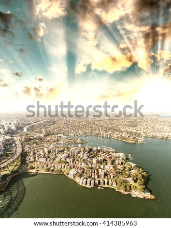 Sydney, Australia. Awesome aerial view from helicopter on a beautiful day. - stock photo