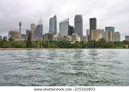 Sydney, Australia - city downtown view with Farm Cove and Royal Botanic Gardens - stock photo