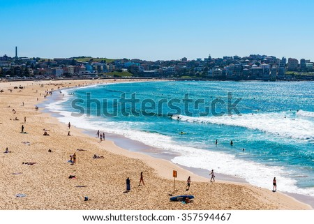 SYDNEY,AUSTRALIA-DEC 01, 2015:People relaxing at Bondi beach beach in Sydney, Australia on Dec 01, 2015. Bondi beach is one of a famous beach in the world. - stock photo