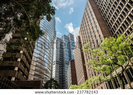 SYDNEY, AUSTRALIA - DECEMBER 12, 2014: The Sydney central business district is the main commercial centre of Sydney, Australia. - stock photo