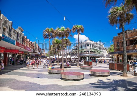 SYDNEY, AUSTRALIA - DECEMBER 21, 2014: Unidentified people in the shopping area named -The Corso - in Manly, on December 21, 2014 in Sydney, Australia. - stock photo