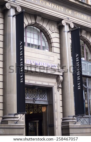 SYDNEY, AUSTRALIA - FEBRUARY 9, 2015: Detail of Burberry store in Sydney, Australia. Burberry is a British luxury fashion house, distributing clothing and cosmetics founded at 1856. - stock photo