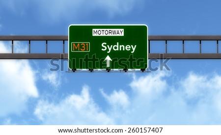Sydney Australia Highway Road Sign - stock photo