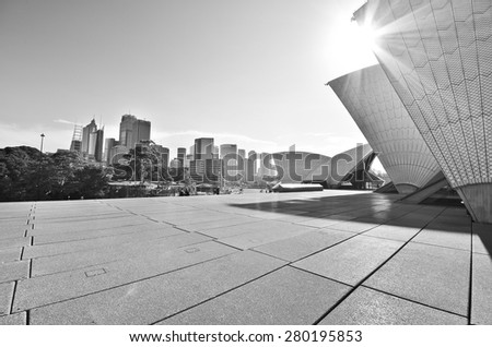 Sydney, Australia - January 23: View of Sydney skyline and Opera House in a sunny day on January 23, 2015 in Sydney, Australia.  - stock photo