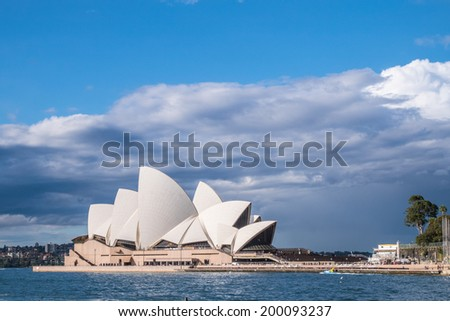 SYDNEY, AUSTRALIA - JUNE 20: Side view of Sydney's most famous icon, the Sydney Opera House Begin winter on Jun 20, 2014 in Sydney, Australia - stock photo