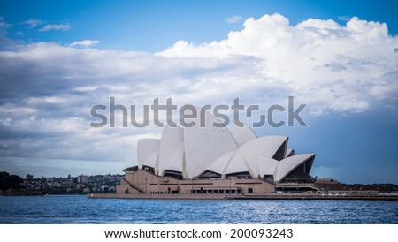 SYDNEY, AUSTRALIA - JUNE 20: Side view of Sydney's most famous icon, the Sydney Opera House Begin winter on Jun 20, 2014 in Sydney, Australia, - stock photo