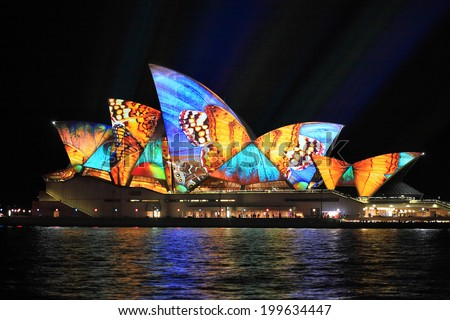 SYDNEY, AUSTRALIA - JUNE 2, 2014;  Vivid Sydney Festival, beautiful butterfly imagery projected onto the  Sydney Opera House  during Vivid  annual festival of light, music and ideas - stock photo