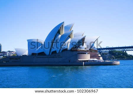 SYDNEY, AUSTRALIA - MARCH 22: Front view of Sydney's most famous icon, the Sydney Opera House on March 22,2012 in Sydney, Australia. The Opera House will celebrate its 40th anniversary in 2013. - stock photo