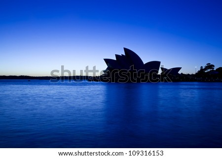 SYDNEY, AUSTRALIA - MARCH 22: Night view of Sydney's most famous icon, the Sydney Opera House on March 22,2012 in Sydney, Australia. The Opera House will celebrate its 40th anniversary in 2013. - stock photo