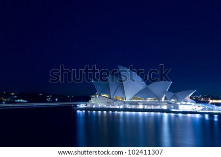 SYDNEY, AUSTRALIA - MARCH 22: Sydney's most famous icon, the Sydney Opera House at night time on March 22,2012 in Sydney, Australia. The Opera House will celebrate its 40th anniversary in 2013. - stock photo
