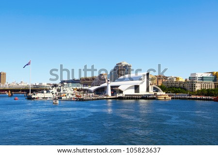 SYDNEY, AUSTRALIA - MARCH 12: the Australian National Maritime Museum in Cockle Bay, Darling Harbour on March 12, 2008 in Sydney, Australia. The museum building was designed by Philip Cox. - stock photo