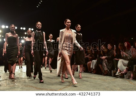 SYDNEY / AUSTRALIA - MAY 16: Models walk at finale on runway during sexy lace female MISHA collection fashion show during Mercedes Benz Fashion Week Australia on 16 May 2016 in Carriageworks in Sydney - stock photo