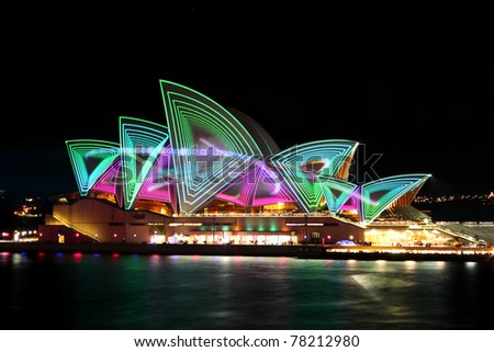 SYDNEY, AUSTRALIA - MAY 27: Sydney Opera House shown during Vivid Sydney: A Festival of Light, Music & Ideas on May 27, 2011 in Sydney, Australia. - stock photo