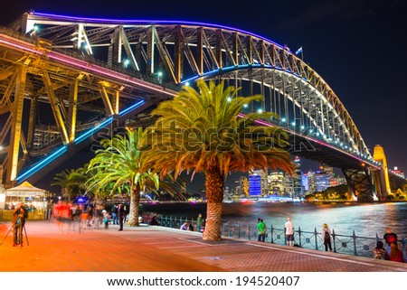 Sydney, Australia - May 23, 2014: Vivid Sydney: A Festival of Light, Music & Ideas - stock photo