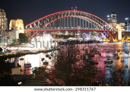SYDNEY, AUSTRALIA - MAY 30, 2015; Vivid Sydney Festival, The Sydney Harbour Bridge and the city at night during Vivid Annual Festival of light - stock photo