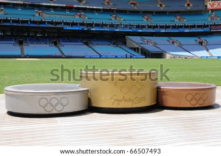 SYDNEY AUSTRALIA - NOVEMBER 26: podium for medalists in Olympic stadium Sydney, arena for the Olympics of the year 2000, Sydney November 26, 2009 - stock photo