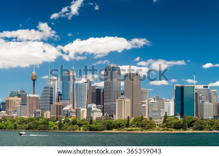 Sydney, Australia - November 09, 2015: Sydney city skyline on a bright day. Sydney is the state capital of New South Wales and the most populous city in Australia and Oceania. - stock photo