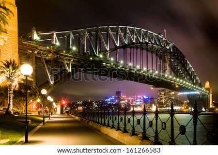 Sydney, Australia - November 27 -Sydney Harbour Bridge and sidewalk at night on November 27th 2008. - stock photo
