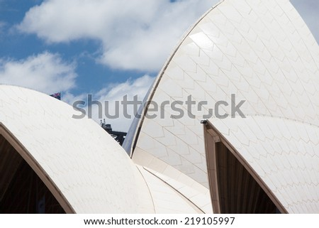 Sydney, Australia - November 18 - The sails of the Sydney Opera House on a clear spring day on November 18th 2012. - stock photo
