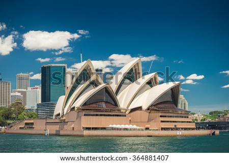 Sydney, Australia - November 09, 2015: The Sydney Opera House is a multi-venue performing arts centre identified as one of the 20th century's most distinctive buildings. - stock photo