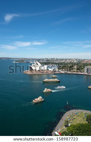 Sydney, Australia - October 5, 2013 : Opera house is the landmark of Sydney city and Australia locate in Sydney harbour. - stock photo