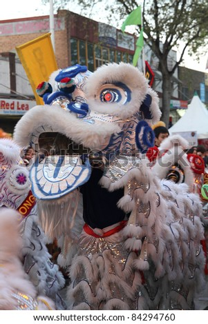 SYDNEY, AUSTRALIA - SEPTEMBER 4 : Lion Dance perform at the Cabramatta Moon Festival on September 4, 2011 in Sydney, Australia. Cabramatta Moon Festival is an annual festival in Cabramatta suburb. - stock photo