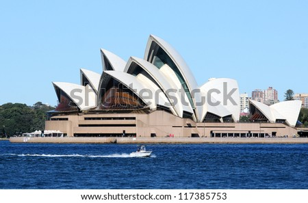 SYDNEY, AUSTRALIA - SEPTEMBER 1: Side view of Sydney's most famous icon, the Sydney Opera House on September 1,2012 in Sydney, Australia. The Opera House will celebrate its 40th anniversary in 2013. - stock photo