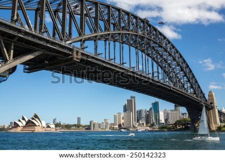 Sydney, Australia - September 20: View of the Harbour Bridge in Sydney, Australia on September 20, 2014. - stock photo