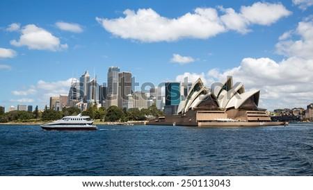 Sydney, Australia - September 19: View of the Opera House, an iconic landmark in Sydney, Australia on September 19, 2014. - stock photo