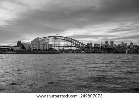 Sydney, Australia - September 19: View of the Opera House and Harbour Bridge, the two most iconic landmarks in Sydney, Australia on September 19, 2014. - stock photo