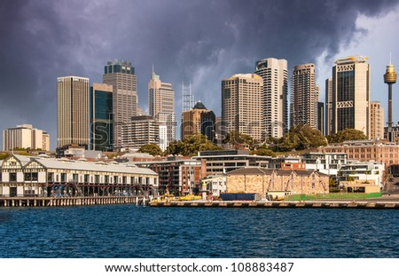 Sydney - Australia view from ferry, City and Skyscrapers - stock photo