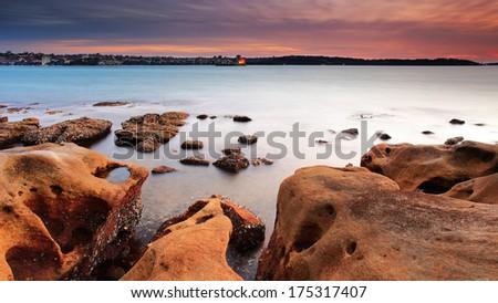 Sydney beach during sunrise/sunset - stock photo