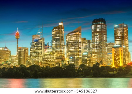 Sydney beautiful night skyline from Farm Cove. - stock photo
