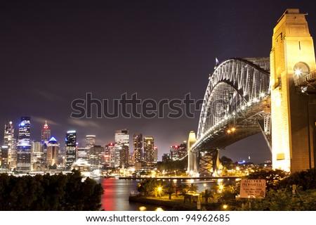 Sydney Bridge and the harbor view - stock photo