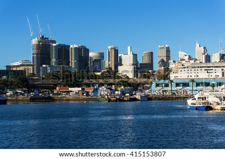 Sydney CBD city view of Barangaroo and Central Business District. Office and residential skyscraper buildings of Sydney, Australia - stock photo